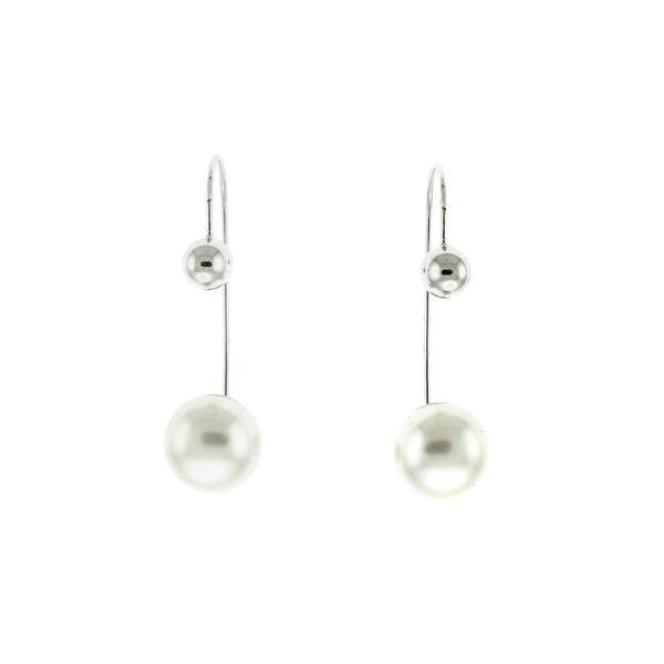 Wire Ball and Freshwater Pearl Earrings