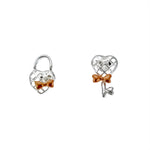 Rose Gold Lock and Key Earrings