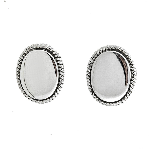 Oval Rope Stud Earrings