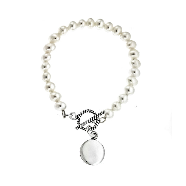 4mm Pearl Rope Toggle Monogram Bracelet