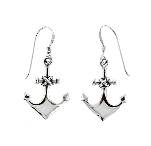 White Shell Anchor Earrings