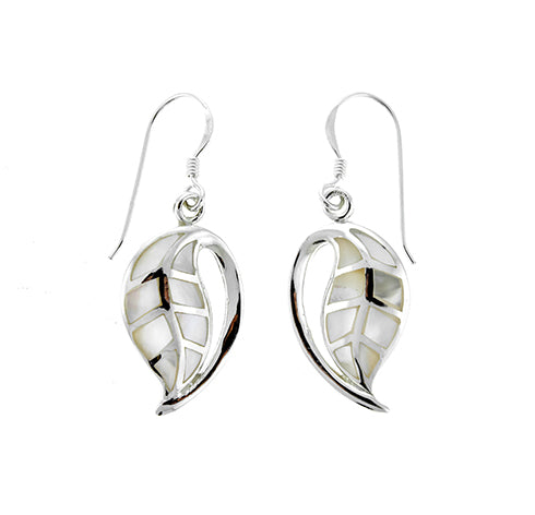 White Shell Curved Leaf Earrings
