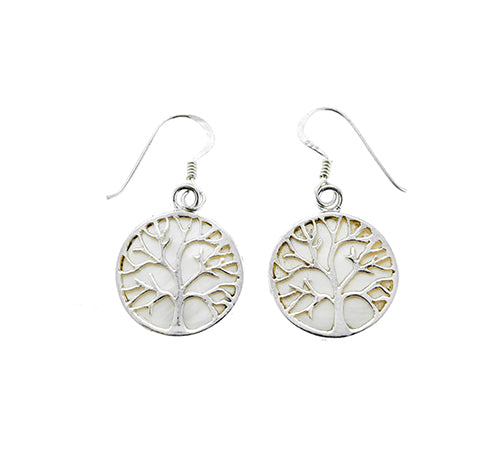 White Shell Tree of Life Earrings