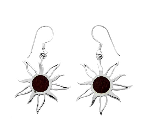 Wood Sun Earrings