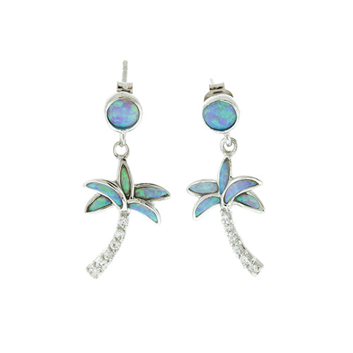 Blue Opal and CZ Palm Tree Earrings