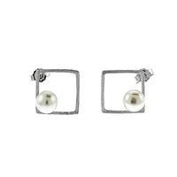 Satin Square Pearl Earrings