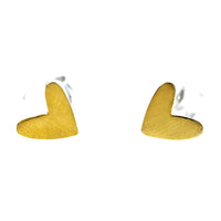 Gold Vermeil Satin Heart Studs