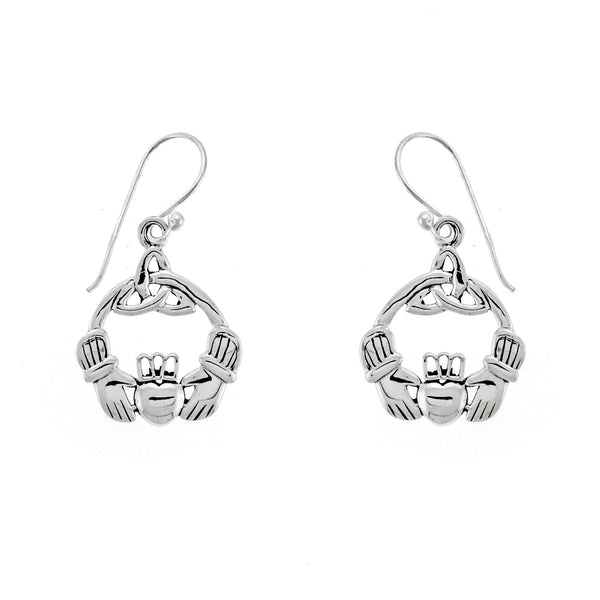 Round Weave Claddagh Earrings