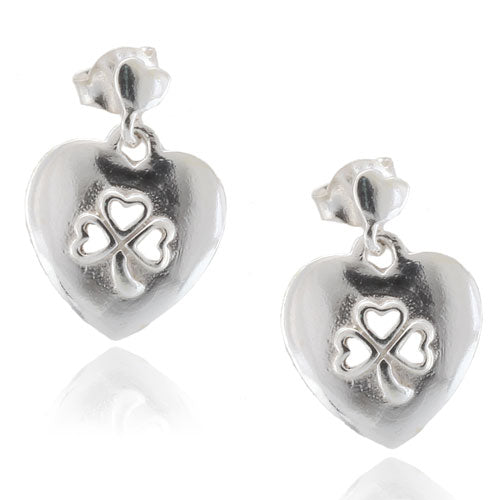 Clover Heart Post Earrings
