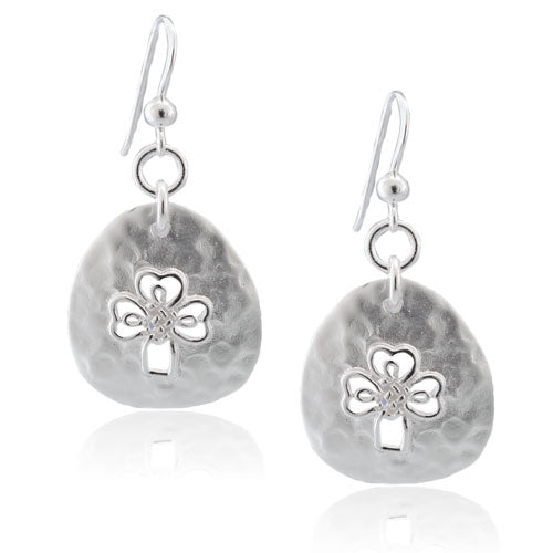 Hammered Celtic Cross Earrings