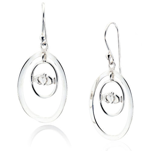 Oval Claddagh Earrings