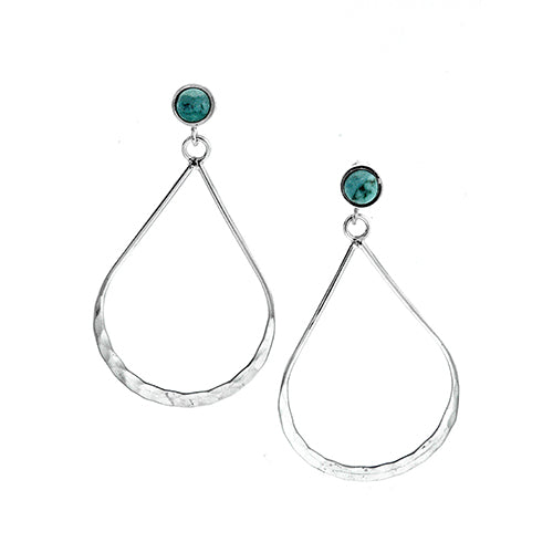 Hammered Teardrop with Turquoise Earrings