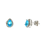 Aquamarine Teardrop Halo Stud Earrings