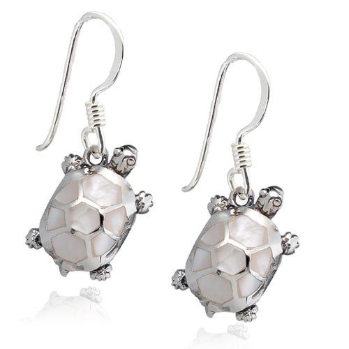 White Mother of Pearl Turtle Earrings