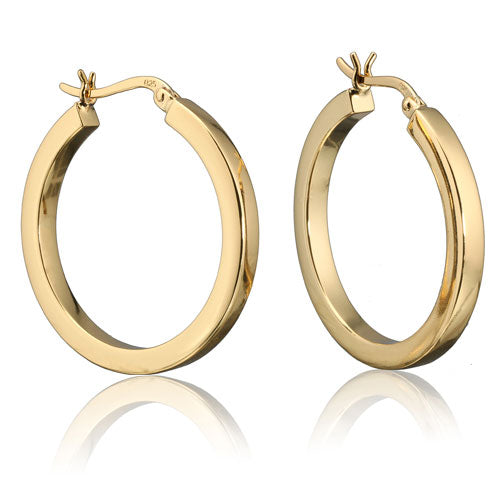 Gold Vermeil 3mm Square Tube Round Hoops