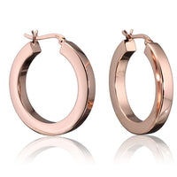 Rose Gold 4mm Square Tube Round Hoops