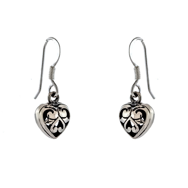 Mini Bali Heart Earrings