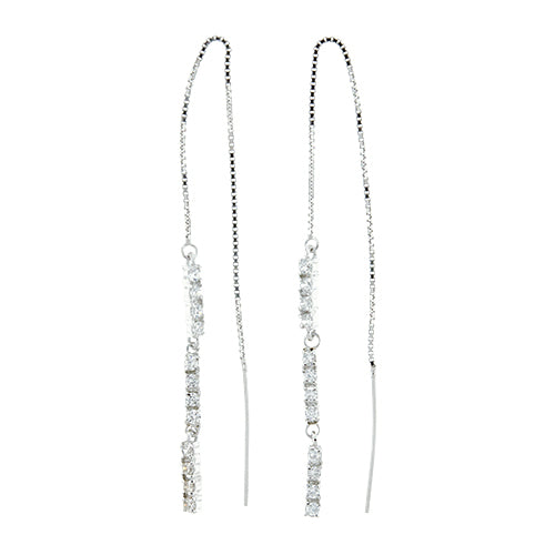 CZ Bar Threader Earrings