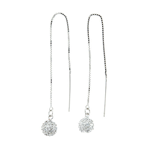 CZ Ball Threader Earrings