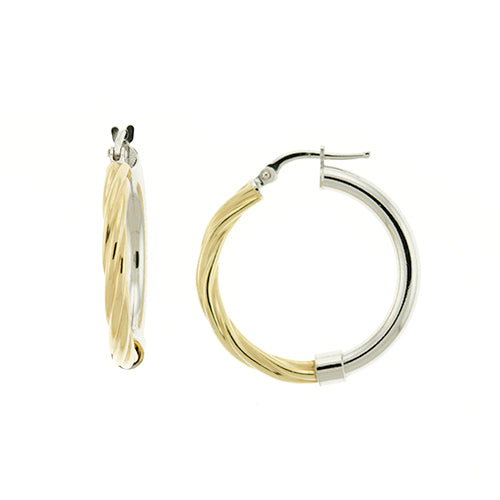 Gold Vermeil Two Tone Rope Hoops