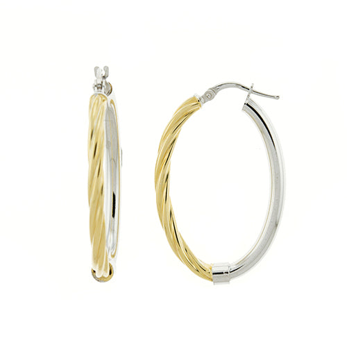 Gold Vermeil Two Tone Rope Oval Hoops