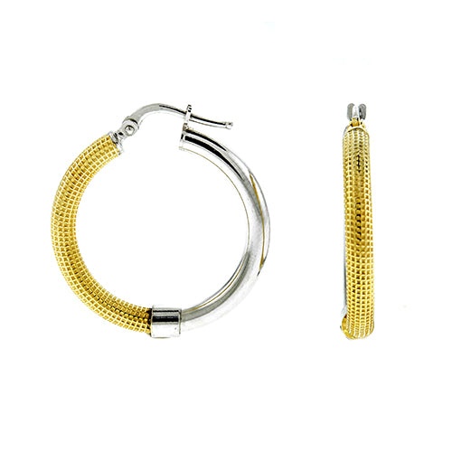 Gold Vermeil Two Tone Mesh Hoops