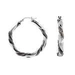 Rhodium Twist Rope Hoops