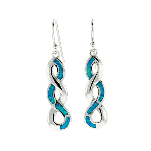 Blue Opal Infinity Earrings