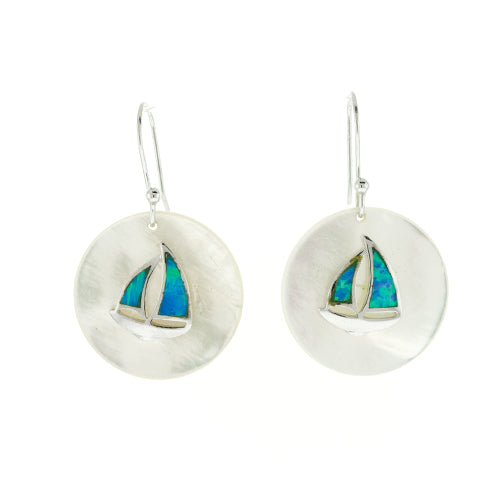 Round Mother of Pearl and Blue Fire Opal Sailboat Earrings