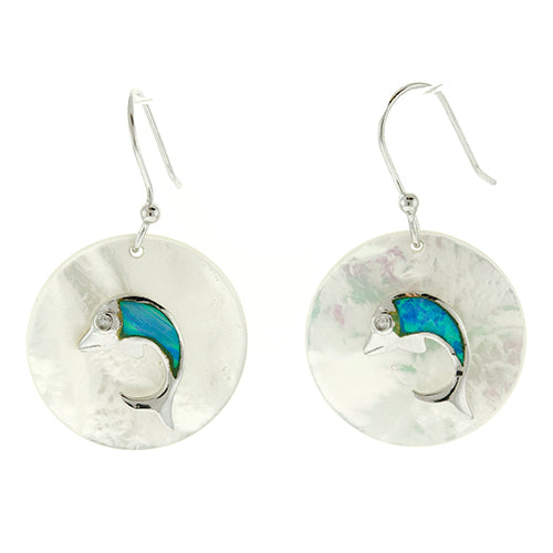 Round Mother of Pearl and Blue Opal Dolphin Earrings