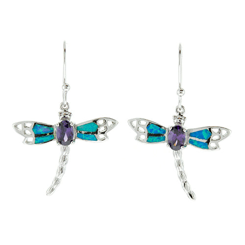 Blue Opal and Amethyst Dragonfly Earrings