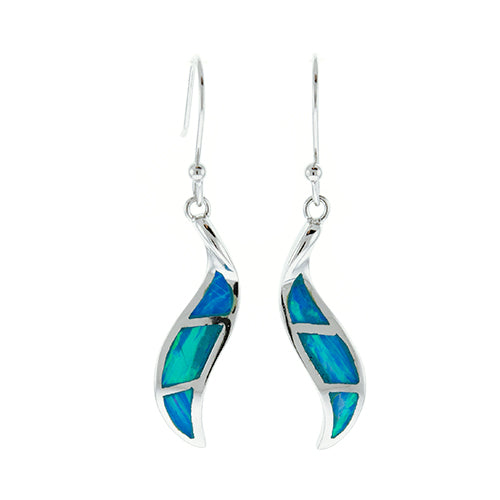 Blue Opal Wave Earrings