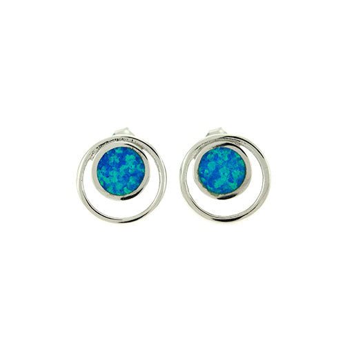 Blue Opal Double Circle Earrings