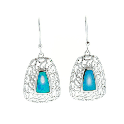 Blue Opal Filigree Earrings