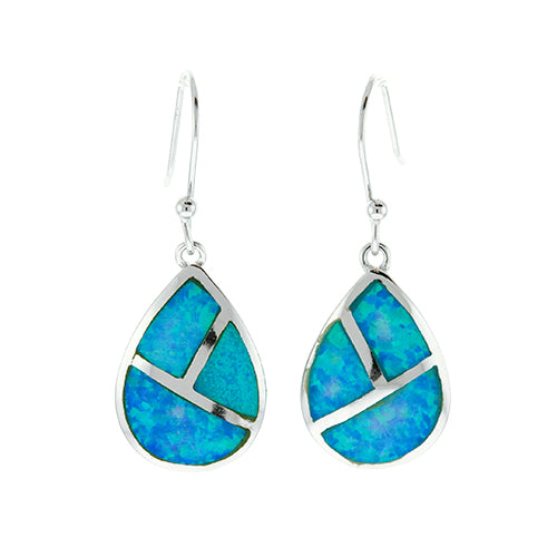 Blue Opal Panel Teardrop Earrings