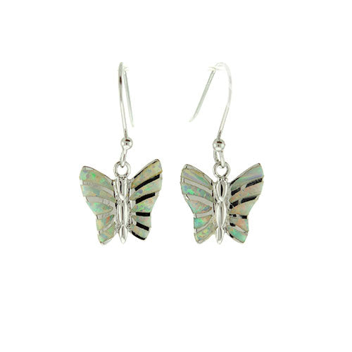 White Opal Butterfly Earrings