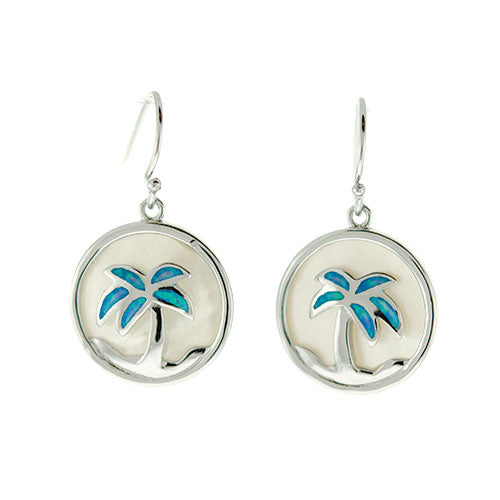 Blue Opal Palm Tree and Mother of Pearl Earrings
