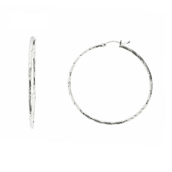 Slash Diamond Cut Hoops