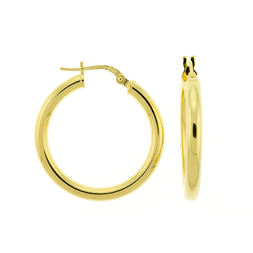 3mm Gold Vermeil Round Hoops
