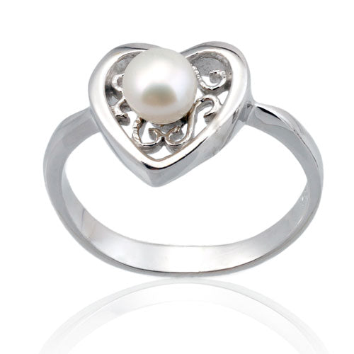 Pearl Filigree Heart Ring