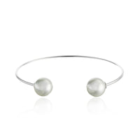 Double Pearl Cuff Bangle Bracelet