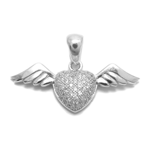 CZ Heart with Wings Pendant