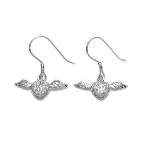 CZ Heart with Wings Earrings