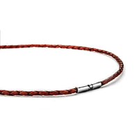 Braided Red Leather Cord Necklace