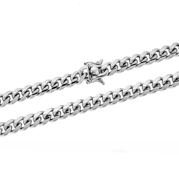 Rhodium 8mm Miami Cuban 250 Chain