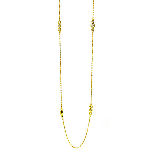 Gold Three CZ Cluster Necklace