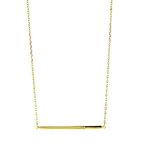 Gold Bar with CZ Necklace