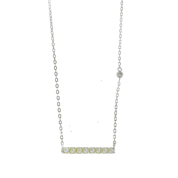 Silver Pearl Bar Necklace