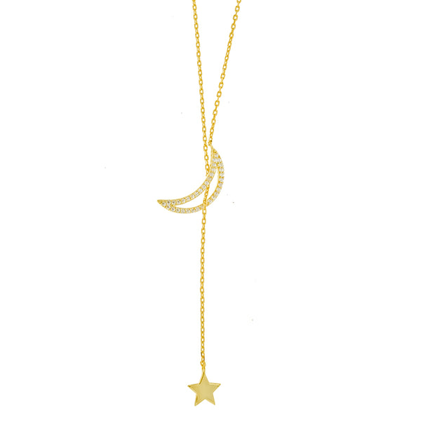 Gold CZ Moon and Star Lariat Necklace