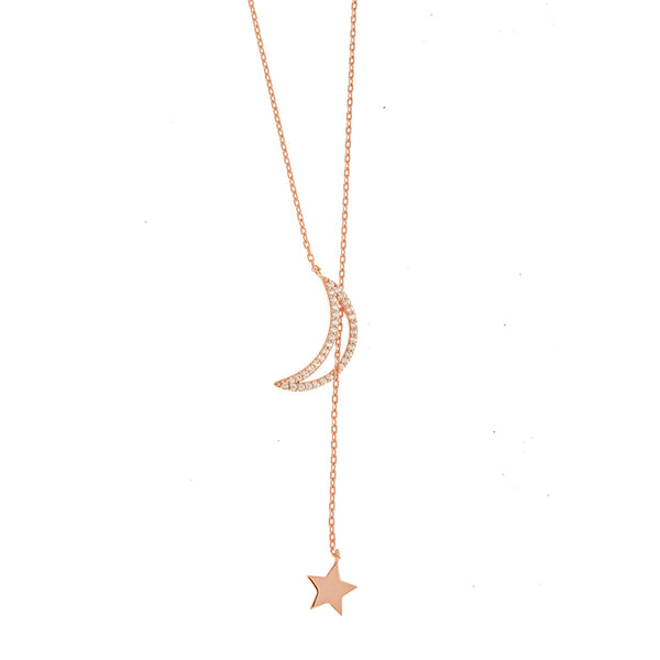 Rose Gold CZ Moon and Star Lariat Necklace